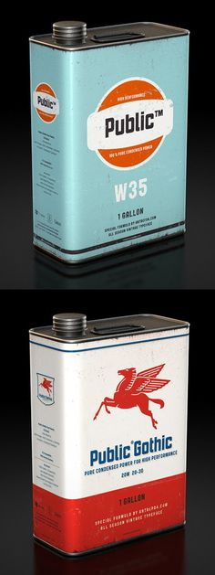 Vintage oil can designs by Antrepo to showcase their typeface, Public Gothic