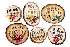 Wood slices by Rosabebe on Creative Market - Before After DIY Wood Slice Crafts, Wood Burning Crafts, Painted Rocks, Hand Painted, Painted Wood, Wooden Slices, Wood Circles, Wood Ornaments, Vintage Flowers
