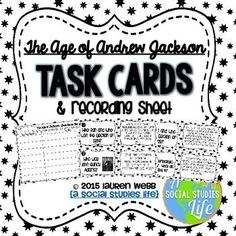 Andrew Jackson Task Cards - Black and White Andrew Jackson Presidency, Cooperative Learning Activities, Teaching Us History, Differentiated Instruction, Vocabulary Words, Task Cards, Social Studies, Study, Events