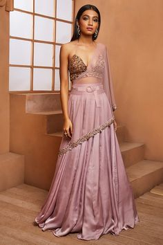 Lilac satin georgette high-waisted lehenga with an attached embellished dupatta drape and belt paired with a gold embellished bralette. Indian Gowns, Indian Attire, Indian Wear, Indian Style, Indian Wedding Outfits, Indian Outfits, Indian Clothes, Indian Designer Outfits, Designer Dresses