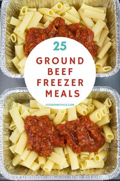 25 Ground Beef Freezer Meals to make life easier. Stock the freezer and always have dinner ready to go from freezer to oven to table. Make Ahead Freezer Meals, Easy Meals, Freezer Desserts, Freezer Meal Recipes, Freezer Cooking, Healthy Freezable Meals, Best Meals To Freeze, Freezer Meal Party, Freezer Dinner