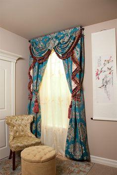 Celuce. Blue Lantern Swag Valances Curtain Drapes 50 inch