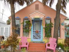 Mermaid Cottages  ~I love the colors! My neighbors would hate me if I did this! But I love it!