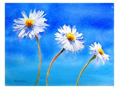Daisy, Daisy by ~rsharts  Artist's Statement.  Cheer up your walls or your desk with this fresh image of three daisies against a beautiful blue sky!