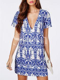 Blue+Short+Sleeve+V+Neck+Vintage+Print+Dress+ 9a09ced96