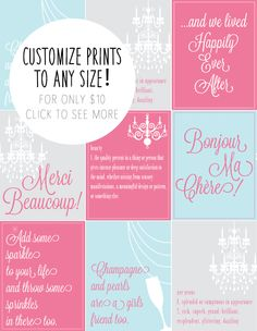 Cute typographic prints in fun colors! Can be printed in any size once downloaded. Click to see more