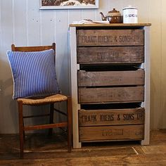 Vintage Fruit Crate Storage Unit