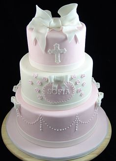 First Communion Cake for girl #CommunionCake, #ChristeningCake