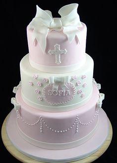 First Communion Cake for girl #CommunionCake, #ChristeningCake