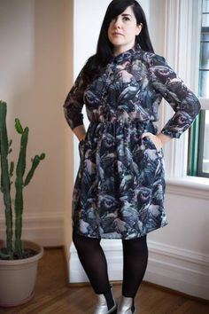 """A stunning print each season is something we've come to love from Valerie! This beautiful watercolour like bird print does not disappoint. The sheer chiffon can be worn over a black camisole, left unbuttoned or done all the way up to the narrow pointed collar. A comfortable fit, the elasticized waist offers a bit of extra room when you're out at happy hour;)  Perfect with a blazer or cozy sweater layered over it! This dress is part of Valerie's """"Compassion & Design"""" series, which aims t..."""