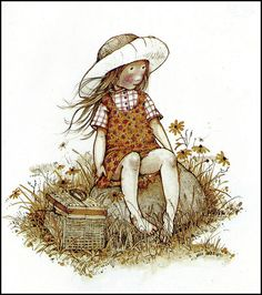 Holly Hobbie, sitting on rock with basket