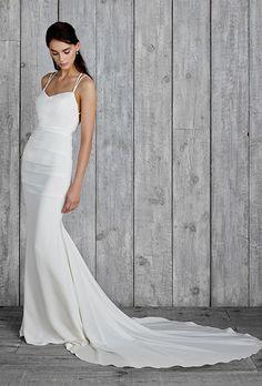 "Brides: Nicole Miller - Fall 2015. Style FJ10012, ""Celine"" spaghetti strap stretch crepe de chine sheath wedding dress with cross back straps, Nicole Miller"