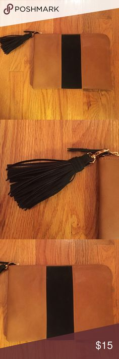Who What Wear oversized brown and black clutch Brown and Black clutch with black fringe tassel Who What Wear Bags Clutches & Wristlets