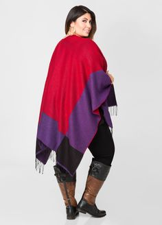 Large Colorblock Fringe Ruana - Ashley Stewart