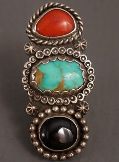 Huge Long Old Pawn Vintage Navajo Sterling Turquoise Coral Ring Circa 1950'S