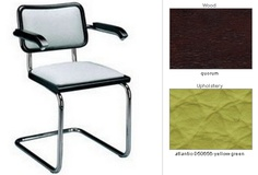 Perhaps Breuer's Cesca armchair in Mahogany and spring green leather?