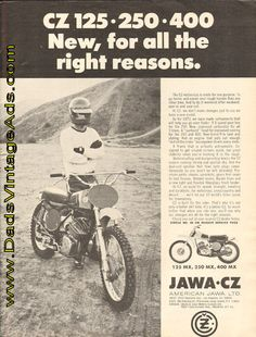 1973 CZ motocross – New, for all the right reasons. I raced all 3 of these plus a spare 250 in the 72, 73 & 74 Motocross seasons. Fuel tank, mudguards and number plates were made of pressed steel. Guards and plates were swapped for Preston Petty Plastics and the gas tank for an alloy BSA B50 Victor one.