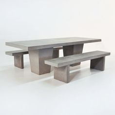 "This outdoor dining set comes complete with 2 concrete benches for that amazing modern look. It is 98"" and has tapered legs. This is a best seller!"