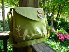Mini Tweeting Birds Olive Green Purse /tote /handbag /school bag / Choose your own color, handmade wood button, and 6 large pockets