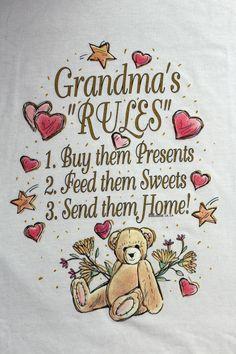 Grandmas Rules novelty t-shirt tee graphic XL white gift mothers day nana mamaw #JERZEES #GraphicTee