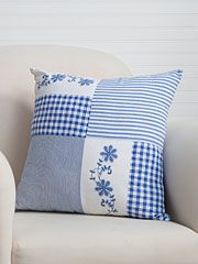 Beautiful blues overflowing with easy summertime charm! Such a pretty combination of classic plaid, hand-worked embroidery and old fashioned ticking stripes, the Picnic Patchwork artfully arranges the best of our past for the home of today. Sewing Pillow Patterns, Sewing Pillows, Diy Pillows, Embroidery Patterns, Quilt Patterns, Embroidery Art, Embroidery Stitches, Dress Patterns, Decorative Pillows