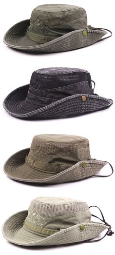 6b26eae8e62 Mens Summer Cotton Embroidery Visor Bucket Hats Fisherman Hat Outdoor  Climbing Mesh Sunshade Cap