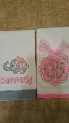 Elephant Burp Cloth Monogrammed Burp Cloth by QueenofThreads81