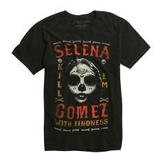 Selena Gomez Kill Em With Kindness T-Shirt Hot Topic ($17) ❤ liked on Polyvore featuring tops, t-shirts, cotton t shirt, skull graphic tees, cotton tee, skull t shirts and skull tee