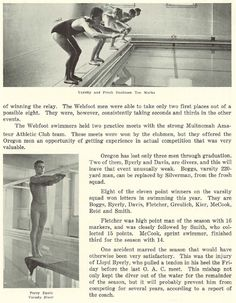 Pt.2 of review of varsity swimming in 1926-27.  From the 1927 Oregana (University of Oregon yearbook).  www.CampusAttic.com