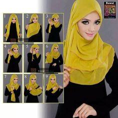 34 TUTORIAL MUDAH PEMAKAIAN TUDUNG , SHAWL DAN SELENDANG MENGIKUT TREND FESYEN MASAKINI - AZLAN RUMADI Simple Hijab Tutorial, Hijab Style Tutorial, Hijab Fashion Summer, Muslim Fashion, Autumn Fashion, Mode Turban, How To Wear Hijab, Stylish Hijab, Modele Hijab