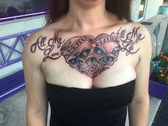 Skull Heart Love Chest Tattoo by Diane Lange at Moonlight tattoo Seaville NJ Moonlight Tattoo, Chest Tattoo, Tatting, Skull, Ink, Heart, Pretty, Lace Making, Chest Piece