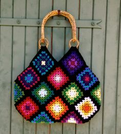 crochet granny square & cotton bag with bamboo par hooknhula, $114.00