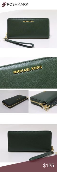 """Michael Kors Bedford Travel Continental Wristlet MICHAEL Michael Kors Bedford Travel Continental Wristlet  Color: Moss Style: 32F6GBFE4L Retail: $168.00  Wallet and wristlet in one, this streamlined MICHAEL Michael Kors design keeps essential cards, cash and ID within easy reach. Detachable wristlet strap Zip closure; lined Interior zip pocket, three interior slip pockets, 10 interior card slots 8.25""""L x 1""""W x 4""""H Leather Imported MICHAEL Michael Kors Bags Clutches & Wristlets"""