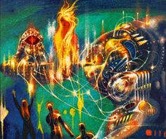 A is Andromeda by Fred Hoyle and John Elliot. Artwork by Richard Powers Psychedelic Space, Richard Powers, Japanese Monster, Magazine Illustration, Science Fiction Art, Retro Futurism, Sci Fi Art, Magazine Art, Cover Art