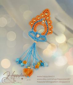 India macramè earrings or pendant pattern от Happyland87 на Etsy