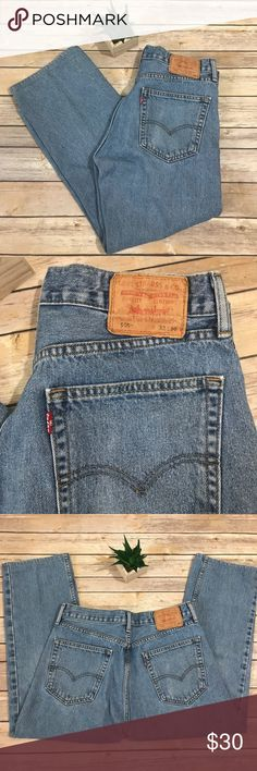 "Vintage Men's Levi's 505 Red Tag Jeans 32/30 Vintage Levi's 505 Red Tag Jeans 32/30.  Light wash, classic fit jeans from the 80s and 90s!  Good condition with one very faint stain on right knee. I couldn't pick it up with my camera.  No holes, tears noted.   Great fit with straight leg!  Classic Levi leather label on the back with five pocket design.  Measures approximately 17"" flat waist and 26"" inseam. Levi's Jeans Straight"