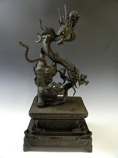 Antique Japanese Bronze Dragon Tiger Figure