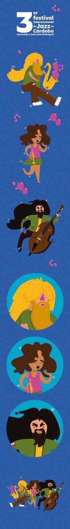 3 Festival Internacional de Jazz en Córdoba MX on Behance #festival #jazz #personajes #cordoba #andreahonni #ahonni #ilustracion #ilustration #music