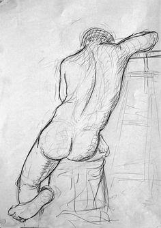 In situ: Life drawing.Taller de Modelo al Natural EdRa Human Figure Sketches, Body Sketches, Figure Sketching, Figure Drawing, Art Sketches, Back Drawing, Life Drawing, Male Body Art, Body Reference Drawing