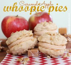 Caramel Apple Whoopie Pies!  Fresh apple cookies sandwiched with Caramel Buttercream Frosting - oh yum!