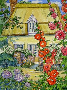 Set of 5 Storybook Cottage vintage inspired Note Cards from Original Watercolors Alida Akers Cute Cottage, Cottage Art, Vintage Inspiriert, Storybook Cottage, Hollyhock, Arte Popular, Whimsical Art, Painting & Drawing, Doodle