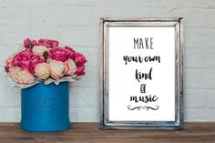 Make your own kind of music print DIY, watercolor typography, diy printable wall art Bible Verse Typography, Watercolor Typography, Typography Prints, Watercolor Print, Gold Room Decor, Pineapple Art, Hand Drawn Fonts, Chalkboard Poster, Black And White Posters