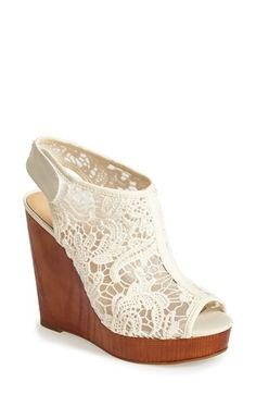 Free shipping and returns on Lucky Brand 'Rezdah' Wedge Platform Sandal (Women) at Nordstrom.com. Incredibly lightweight and chic, a sky-high platform sandal is styled with an intricate floral lace and mesh upper that contrasts beautifully with the natural look of the wedge. Perfect for packing in your luggage for vacation, it features a full-length padded footbed and a refined look that transitions easily from day to evening.