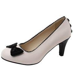 6343e4afa00 Tuk cream black bow button rockabilly pin up kitten heels 5 shipping to us  heels 3