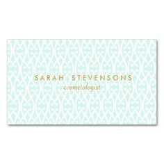 Elegant Chic White and Turquoise Lattice Pattern Double-Sided Standard Business Cards (Pack Of 100). Make your own business card with this great design. All you need is to add your info to this template. Click the image to try it out!