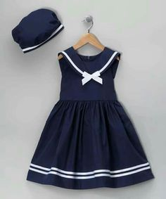 Take a look at this Jayne Copeland Navy Dress & Beret - Infant, Toddler & Girls on zulily today! Toddler Dress, Toddler Outfits, Kids Outfits, Infant Toddler, Toddler Girls, Infant Girls, Baby Outfits, Little Dresses, Little Girl Dresses