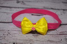 čelenka růžová - žlutá mašlička Band, Accessories, Fashion, Moda, Sash, Fashion Styles, Fashion Illustrations, Bands, Jewelry Accessories