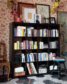 Full Bookshelf in Rome Palazzo Apartment Bedroom - Roberto Begnini Design - ELLE DECOR