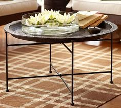 "Moroccan Tray Table #potterybarn Overall: 34"" diameter, 19.25"" high Tray: 34"" diameter, 2.5"" high"