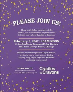 Check out this event on 2/8 to learn more about #CradlestoCrayons